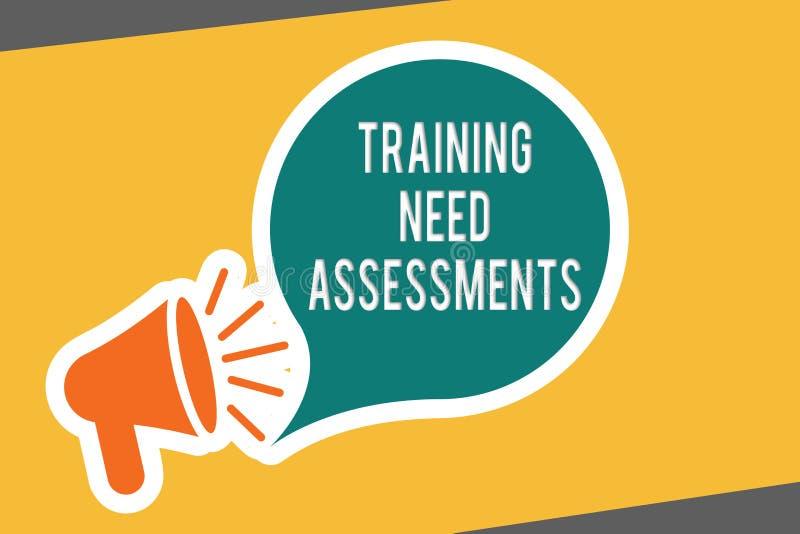 显示训练需要评估的概念性手文字 企业照片文本确定锻炼要求填装 库存例证