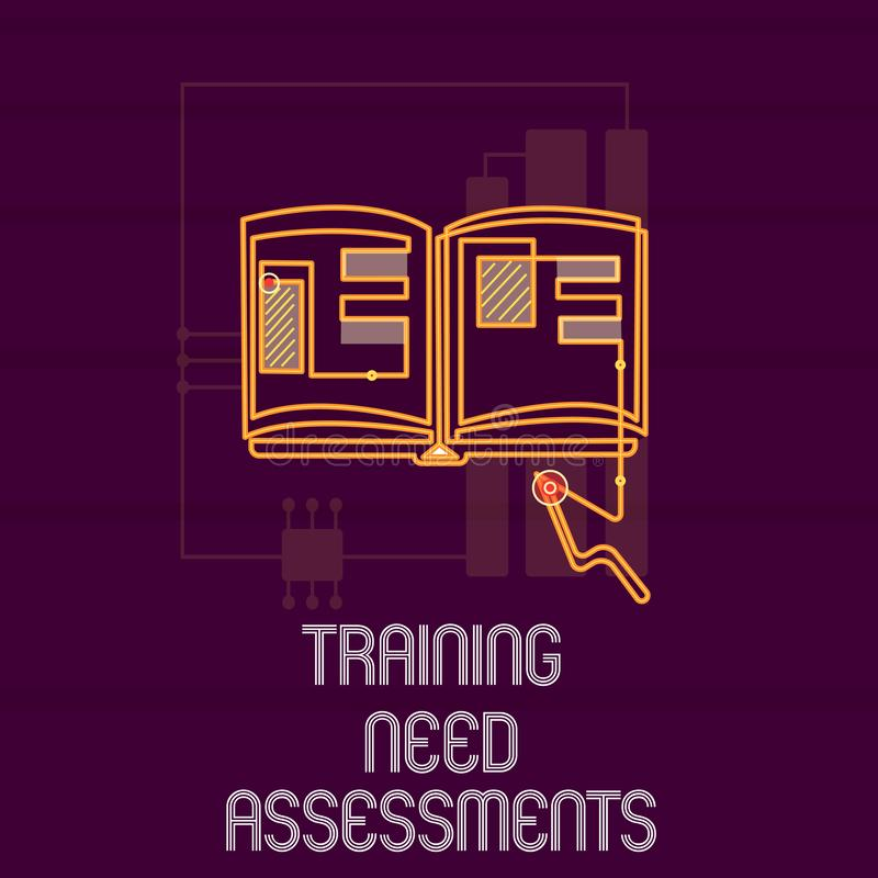 显示训练需要评估的概念性手文字 陈列企业的照片确定锻炼需要 皇族释放例证