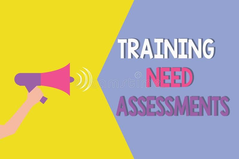 显示训练需要评估的概念性手文字 陈列企业的照片确定锻炼需要 向量例证