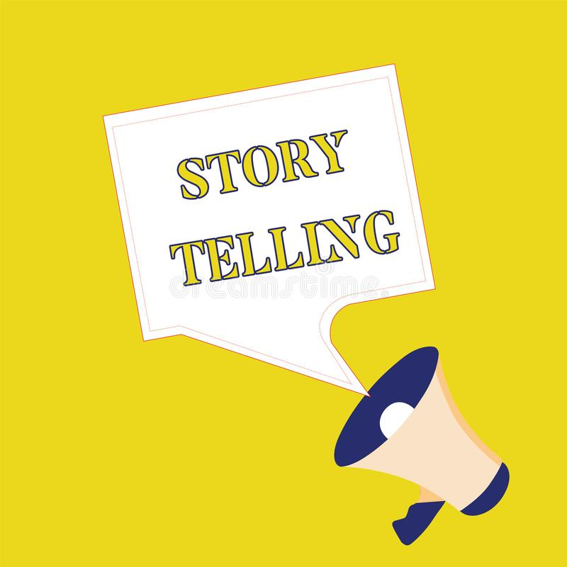 显示讲故事的文本标志 概念性与戏剧性姿态的照片社会和文化活动 向量例证
