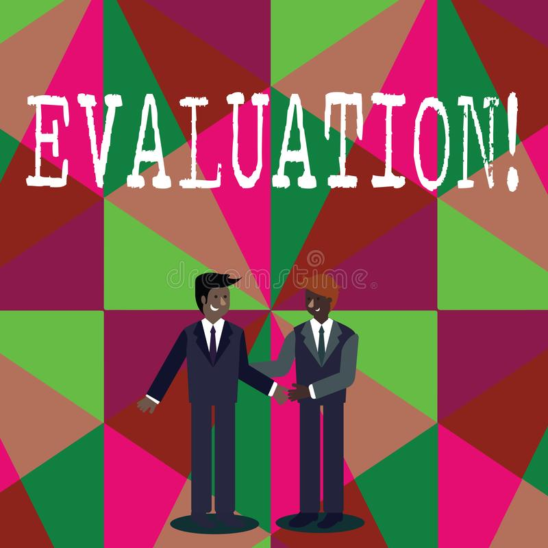 显示评估的文字笔记 企业照片陈列的评断反馈评估质量perforanalysisce  库存例证