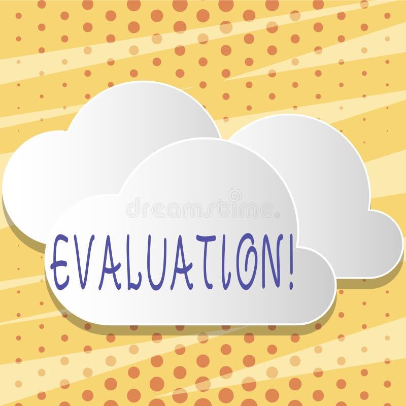 显示评估的文本标志 概念性照片评断反馈评估某事的质量perforanalysisce 皇族释放例证