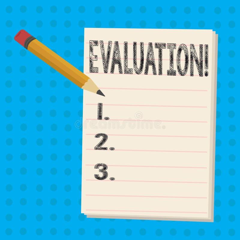 显示评估的文本标志 概念性照片评断反馈评估某事的质量perforanalysisce 向量例证