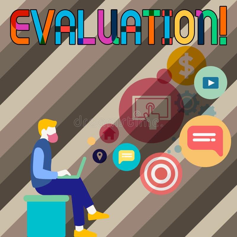 显示评估的概念性手文字 企业照片陈列的评断反馈评估质量 向量例证
