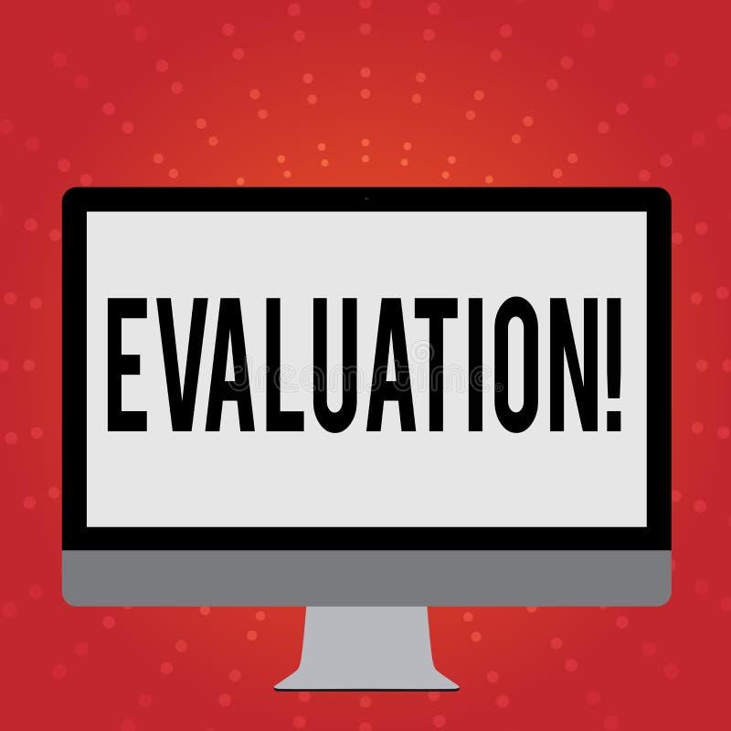 显示评估的概念性手文字 企业照片陈列的评断反馈评估质量 皇族释放例证