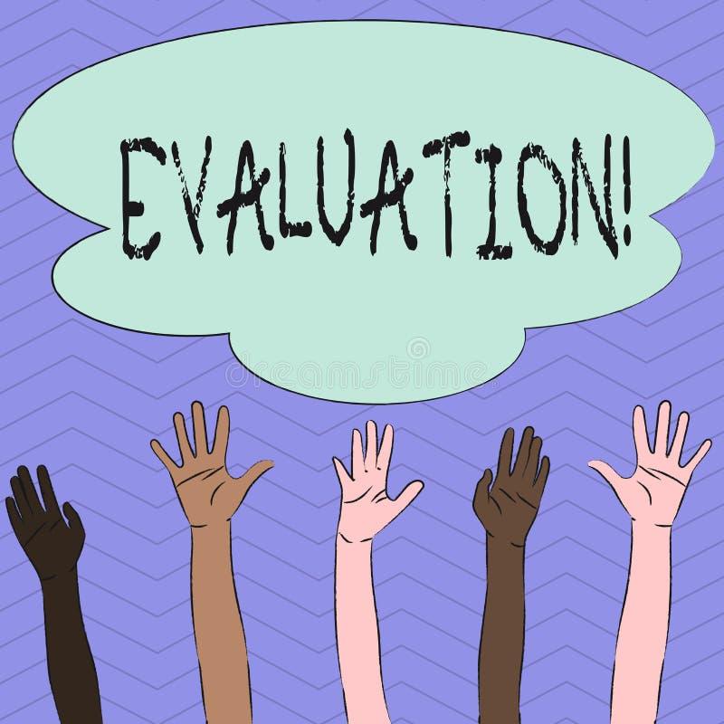 显示评估的概念性手文字 企业照片陈列的评断反馈评估质量 库存例证