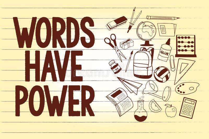 显示词的文字笔记有力量 企业照片陈列的能量能力愈合更加后面的帮助贬低并且欺凌 向量例证