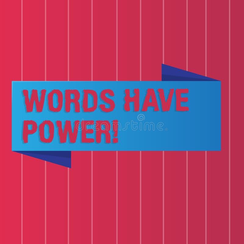 显示词的文字笔记有力量 您说的企业照片陈列的声明有能力改变您 库存例证