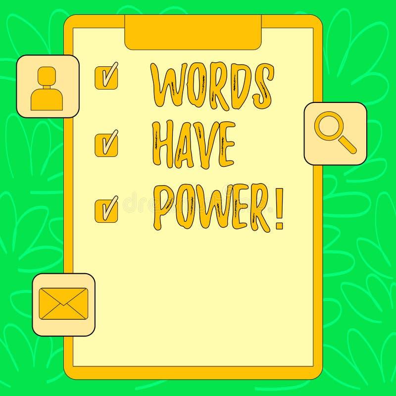 显示词的概念性手文字有力量 企业照片您说的文本声明有能力改变 库存例证
