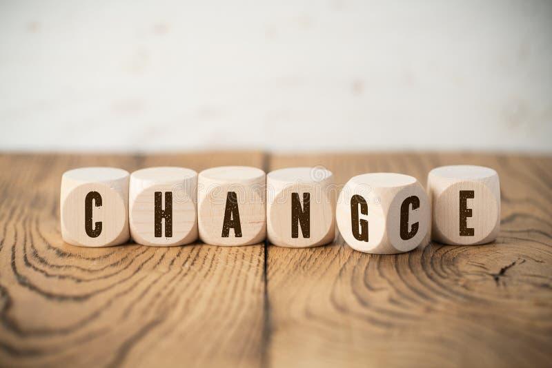 显示词`的六个立方体同时改变`和`机会` 免版税库存照片