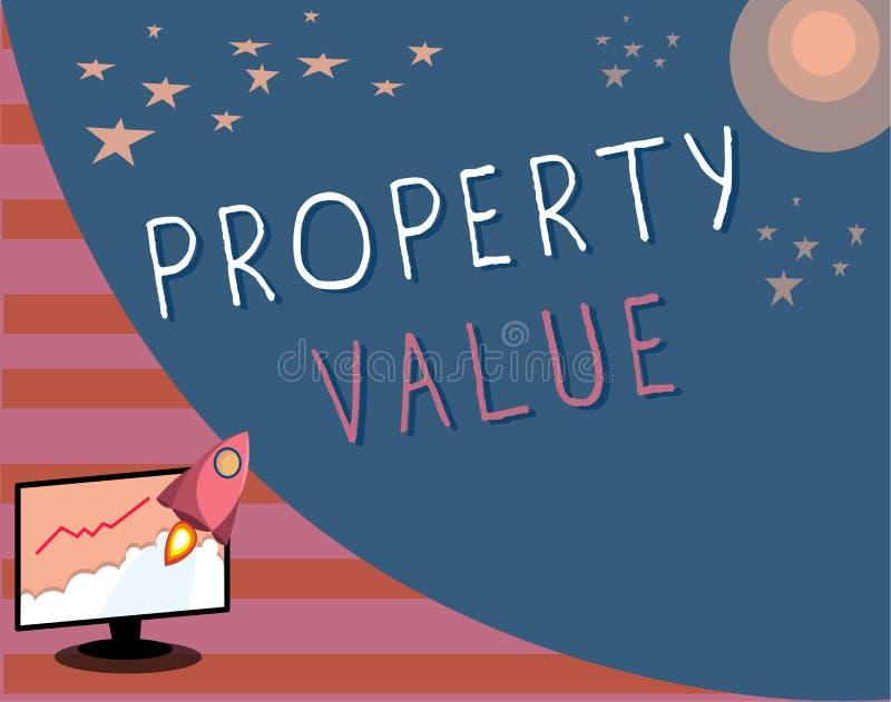 显示财产价值的文字笔记 土地房地产鉴定人公平的市场价的企业照片陈列的价值 库存例证