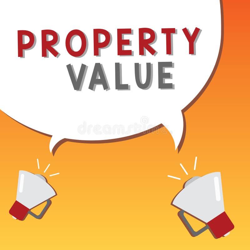 显示财产价值的文字笔记 土地房地产鉴定人公平的市场价的企业照片陈列的价值 向量例证