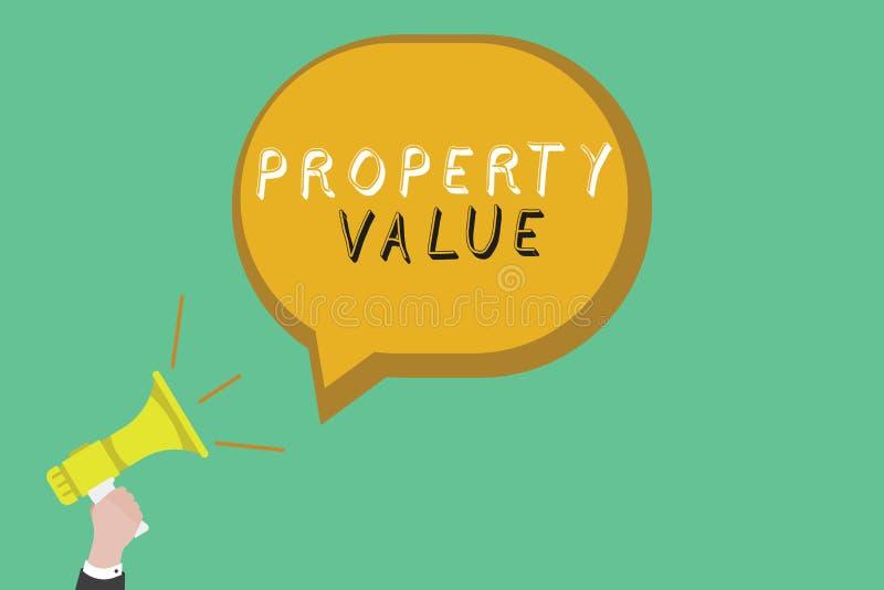 显示财产价值的文本标志 土地房地产鉴定人公平的市场价的概念性照片价值 向量例证