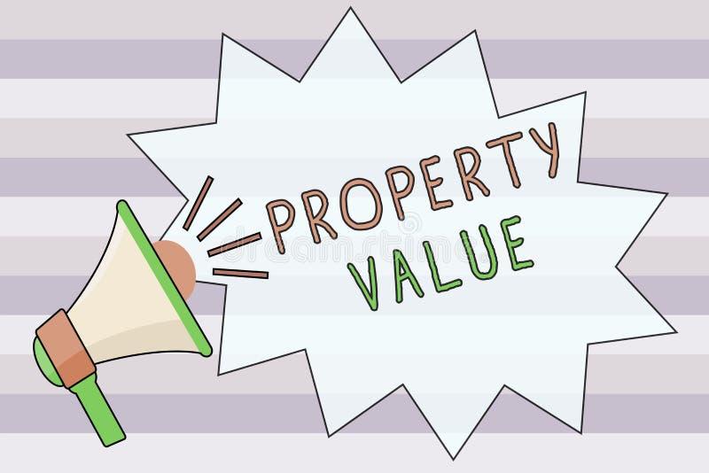 显示财产价值的文本标志 土地房地产鉴定人公平的市场价的概念性照片价值 皇族释放例证