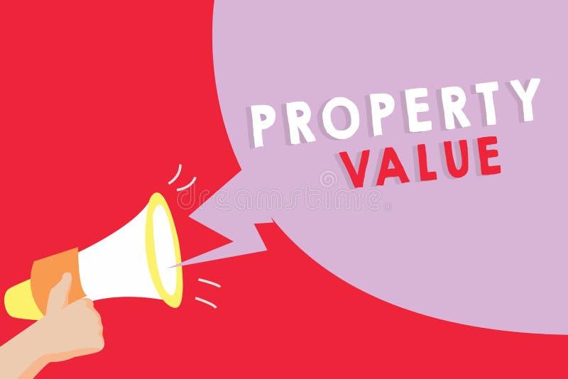 显示财产价值的文本标志 土地房地产鉴定人公平的市场价的概念性照片价值 库存例证