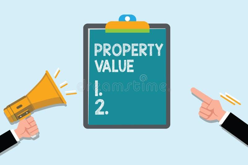 显示财产价值的概念性手文字 企业照片土地房地产鉴定人公平的市场价的文本价值 库存例证