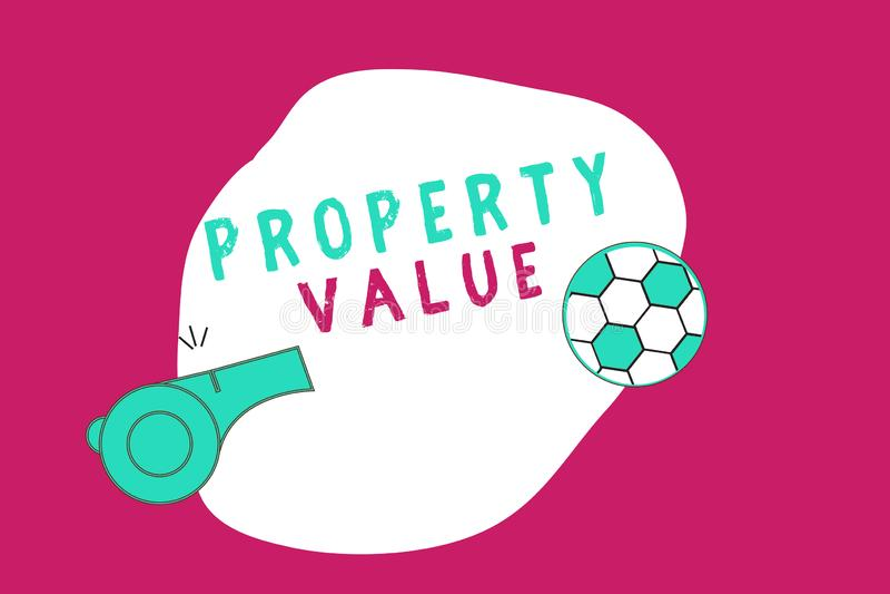 显示财产价值的概念性手文字 土地房地产鉴定人公平的市场价的企业照片陈列的价值 库存例证