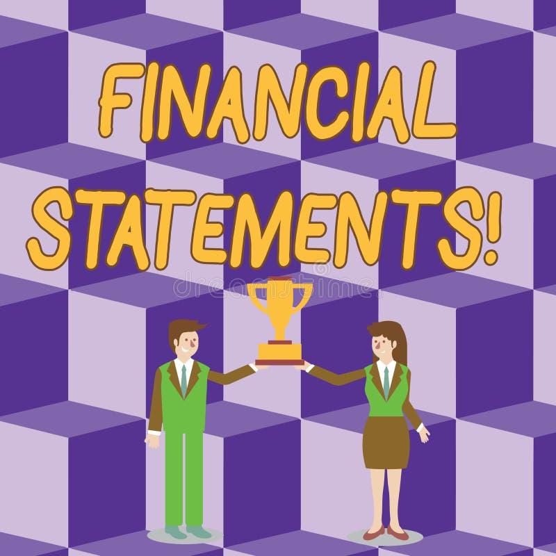 显示财政决算的概念性手文字 陈列正式纪录财政的企业照片 向量例证