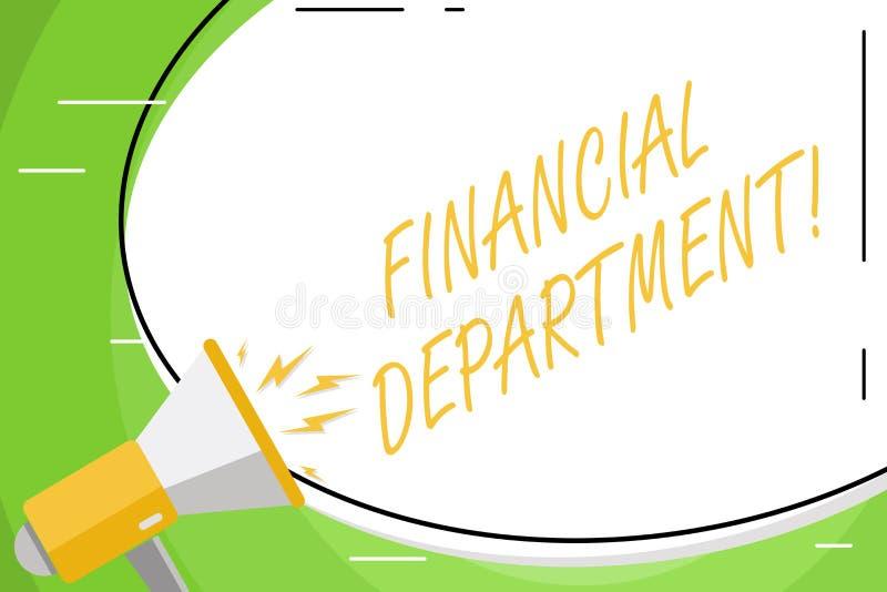 显示财政部门的文本标志 组织的概念性照片零件analysisages白色它的金钱的空白 库存例证