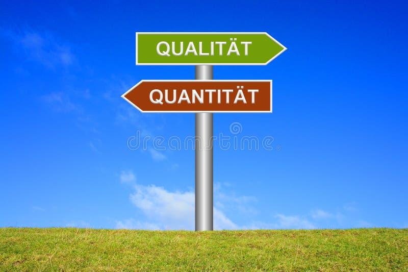 显示质量或Quantatity德语的路标 免版税图库摄影