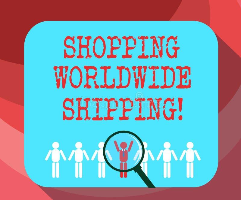 显示购物的全世界运输的文本标志 直接概念性照片在网上买与国际运输 皇族释放例证