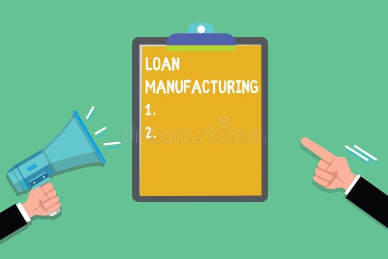 显示贷款制造业的文字笔记 检查借户的合格的企业照片陈列的银行过程 库存例证