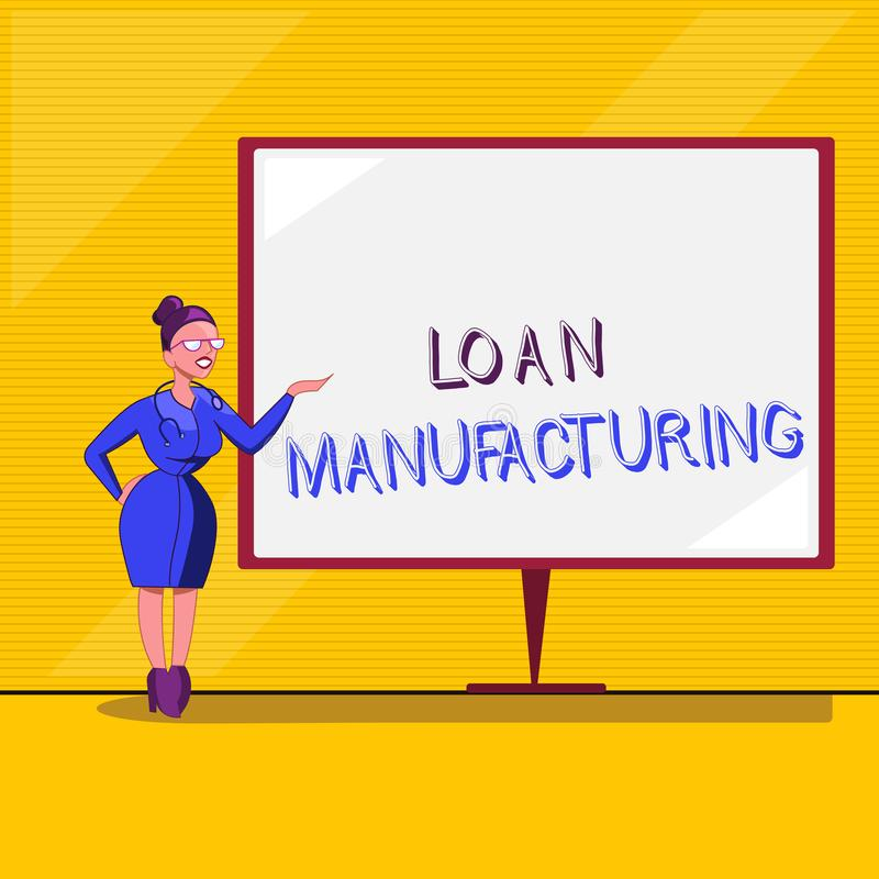 显示贷款制造业的文本标志 检查借户的合格的概念性照片银行过程 向量例证