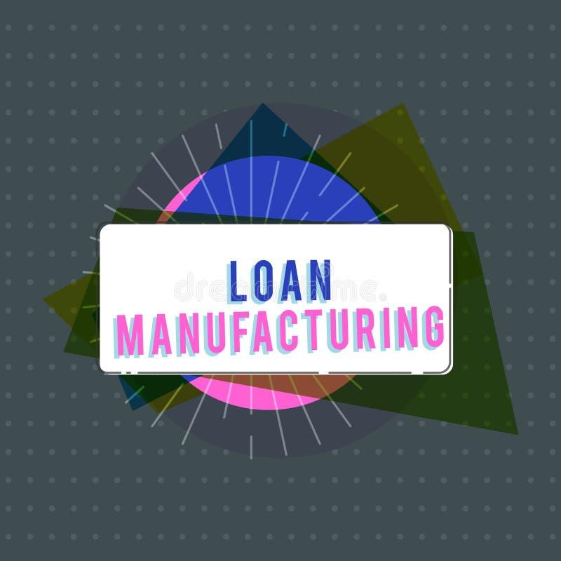 显示贷款制造业的文本标志 检查借户的合格的概念性照片银行过程 库存例证