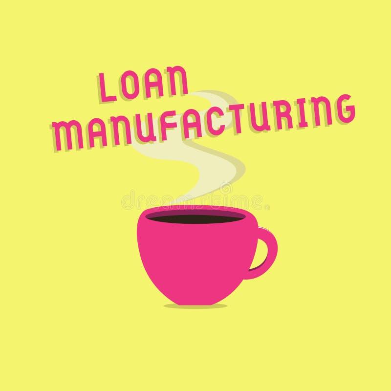 显示贷款制造业的文本标志 检查借户的合格的概念性照片银行过程 皇族释放例证