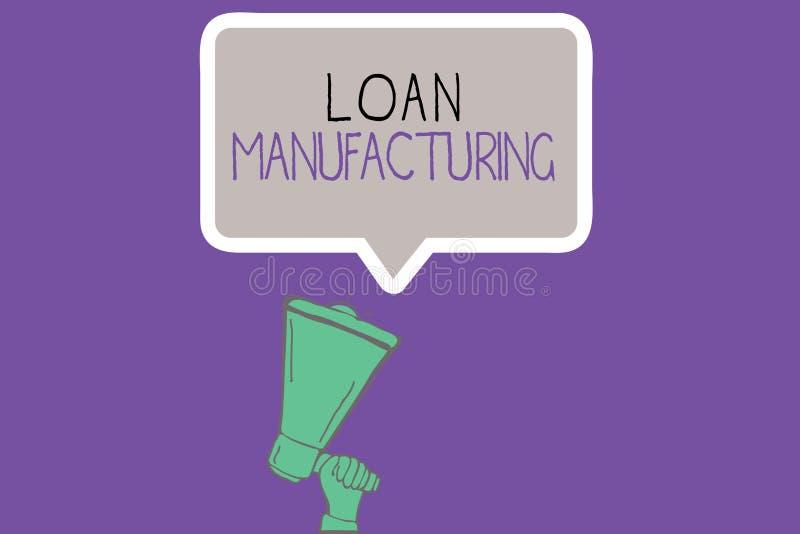 显示贷款制造业的概念性手文字 检查合格的企业照片陈列的银行过程  向量例证