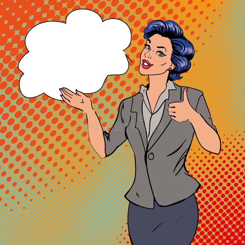 显示赞许与讲话泡影的流行艺术减速火箭的样式妇女手标志 可笑的得出的设计传染媒介例证 向量例证