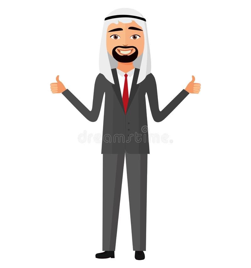 显示赞许传染媒介平的动画片的高兴的阿拉伯人伊朗商人 向量例证