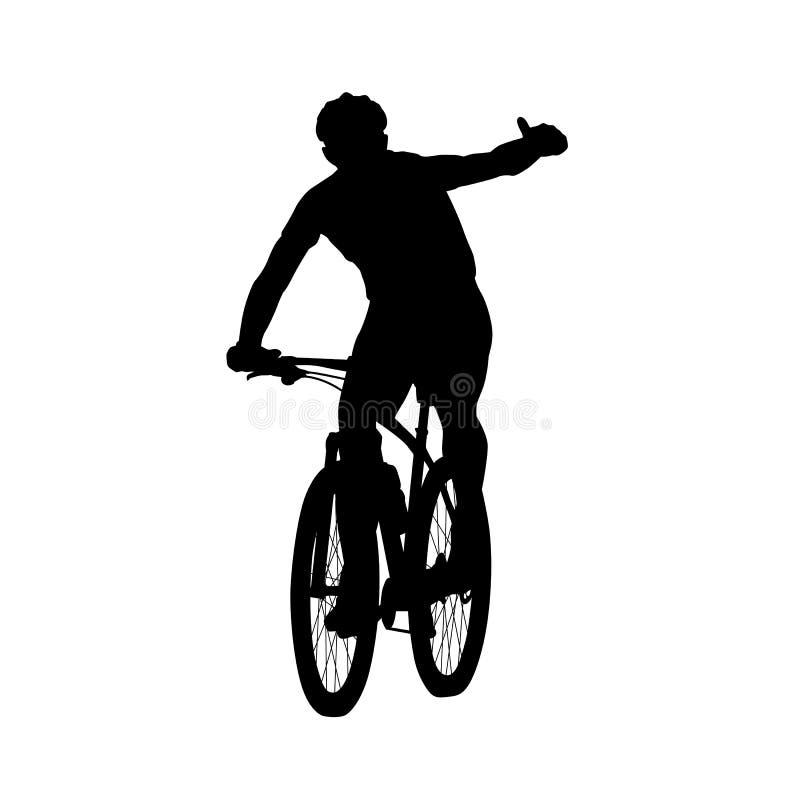 显示赞许的山骑自行车的人 向量例证