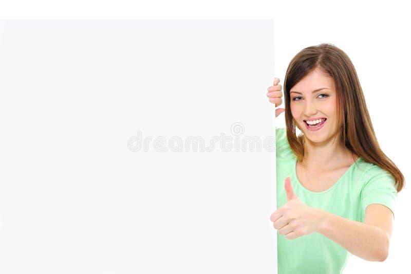 显示赞许的横幅空白女性 免版税库存照片