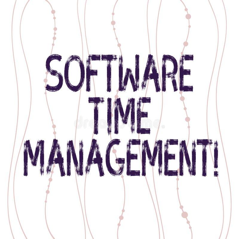 显示软件时间管理的文本标志 概念性照片工具用于监测工作者时间在工作垂直花费了 库存例证
