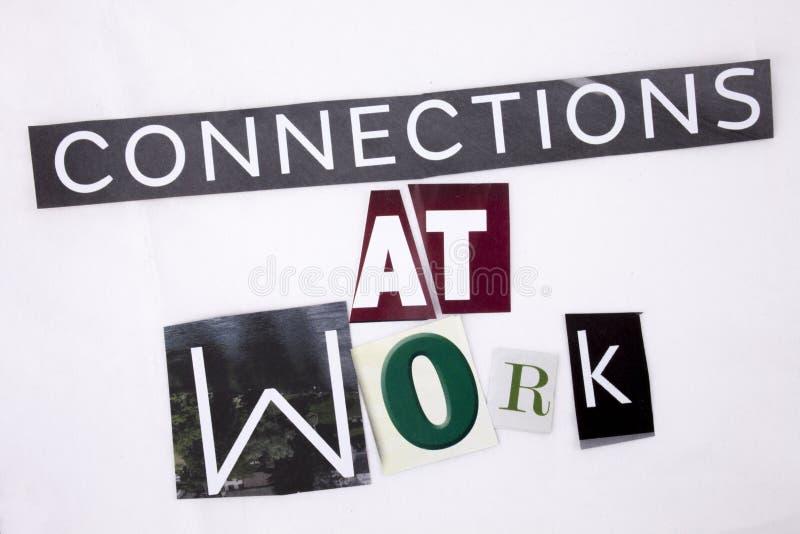 显示连接的概念在工作的词文字文本由企业概念的另外杂志报纸信件制成在 免版税库存照片