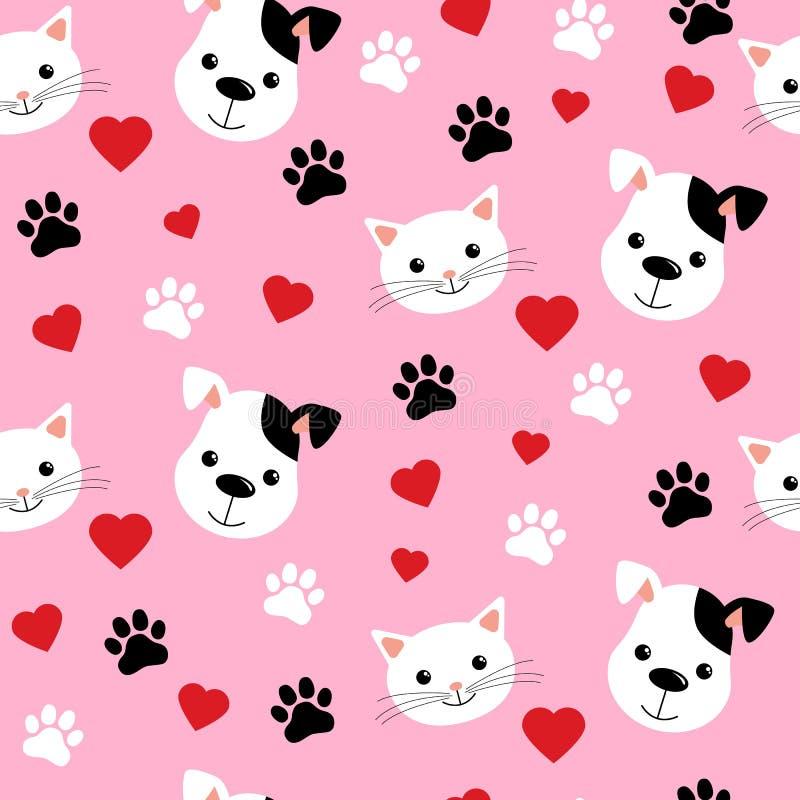 显示逗人喜爱的猫和狗宠物友谊或墙纸设计的动画片猫和狗无缝的样式 皇族释放例证