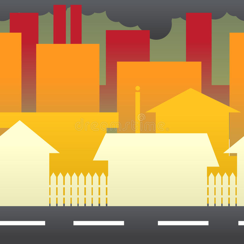 污染在城市 向量例证