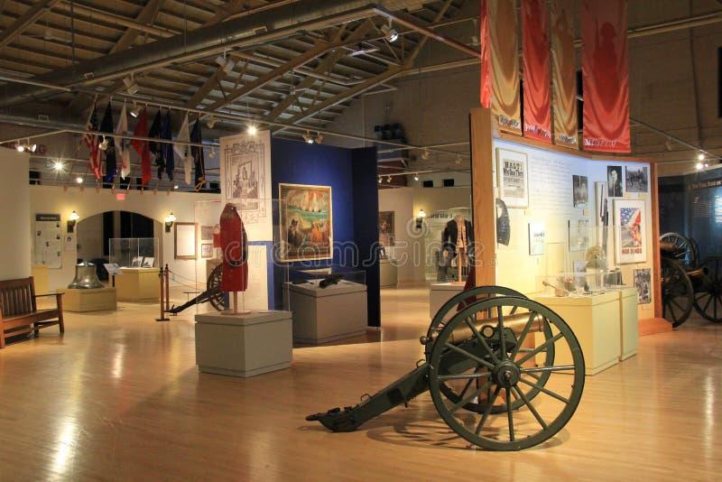 显示里面看法在主要室、纽约州军事博物馆和退伍军人研究中心,萨拉托加, 2015年 库存图片