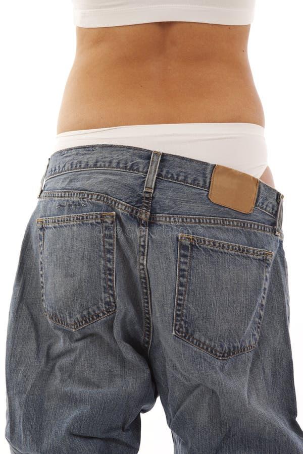 显示重量妇女年轻人的损失 图库摄影