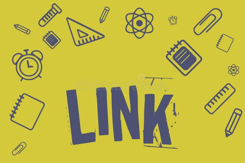 显示链接的文字笔记 在路线链网络的企业照片陈列的圈在网页连接之间的 皇族释放例证