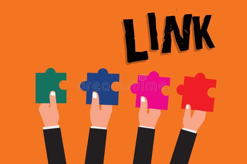 显示链接的文本标志 在路线链网络的概念性照片圈在网页连接之间的 库存例证