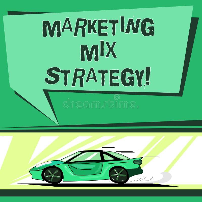 显示销售的混合战略的文本标志 概念性照片套有快速的可统治作战营销工具公司用途汽车 向量例证