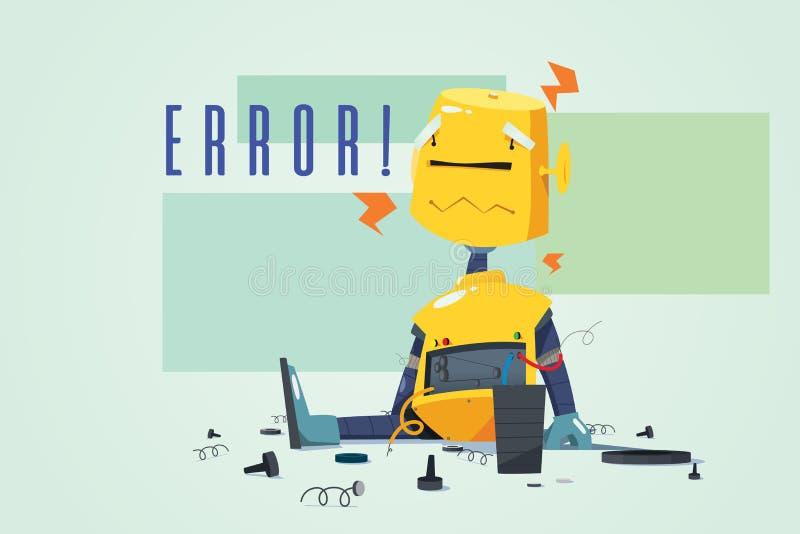 显示错误概念例证的残破的机器人 库存例证