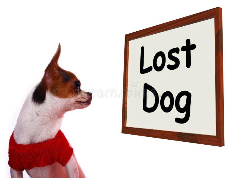 显示错过或逃亡小狗的失去的狗标志 皇族释放例证