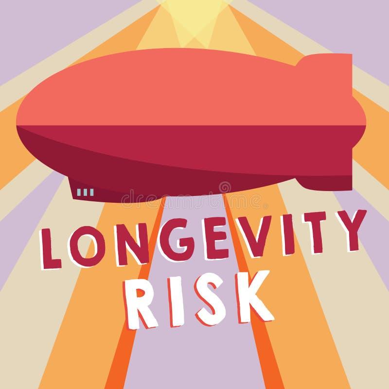 显示长寿风险的概念性手文字 陈列潜在的威胁的企业照片由于增长的寿命领抚恤金者 库存例证