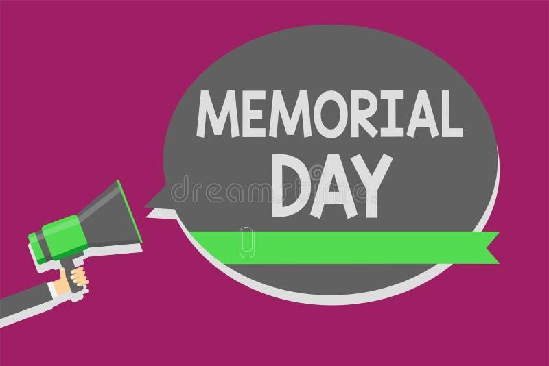 显示阵亡将士纪念日的文字笔记 陈列对荣誉和记住在兵役人holdi死的那些人的企业照片 库存例证