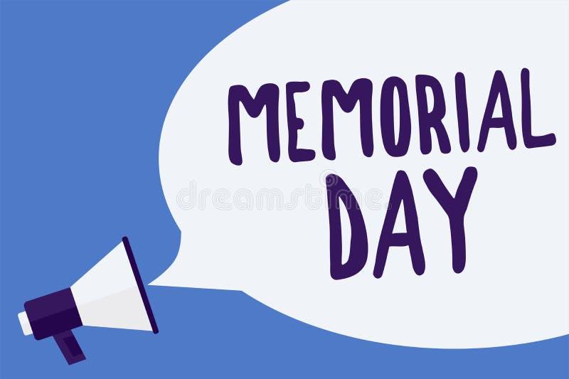 显示阵亡将士纪念日的文字笔记 陈列对荣誉和记住在兵役扩音机死的那些人的企业照片 向量例证
