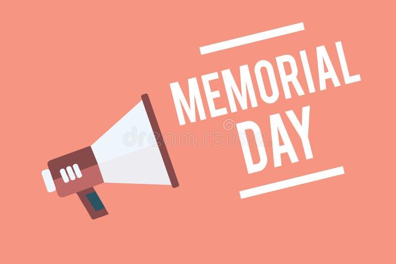 显示阵亡将士纪念日的文本标志 尊敬和记住在兵役扩音机扩音器死的那些人的概念性照片 向量例证