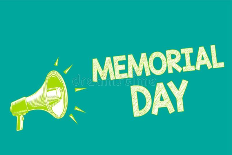 显示阵亡将士纪念日的文本标志 尊敬和记住在兵役扩音机扩音器死的那些人的概念性照片 库存例证